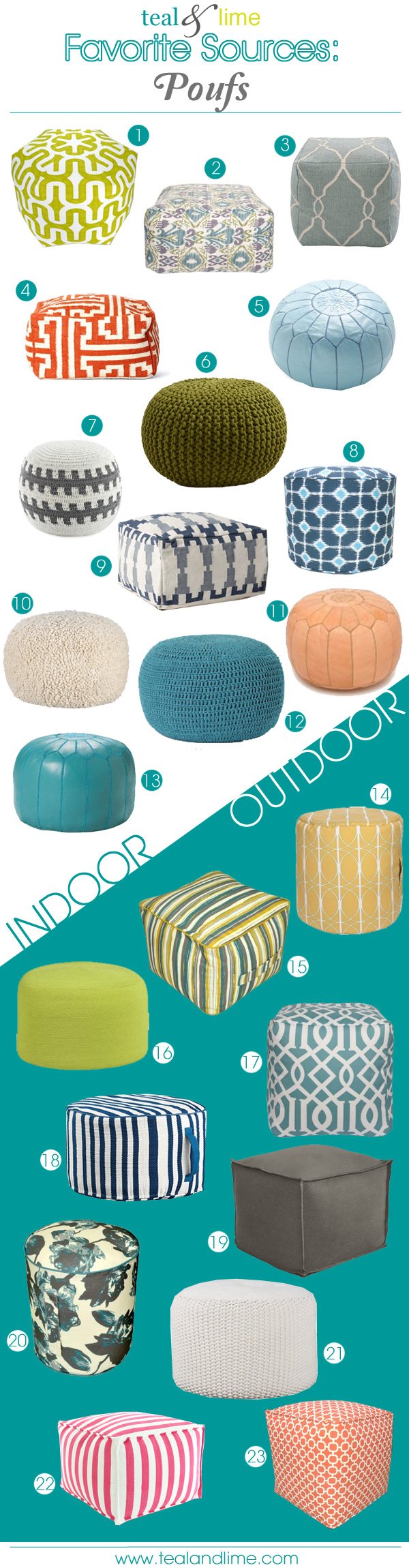 23 Fun and Functional Poufs | tealandlime.com