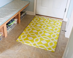 lime green accent rug