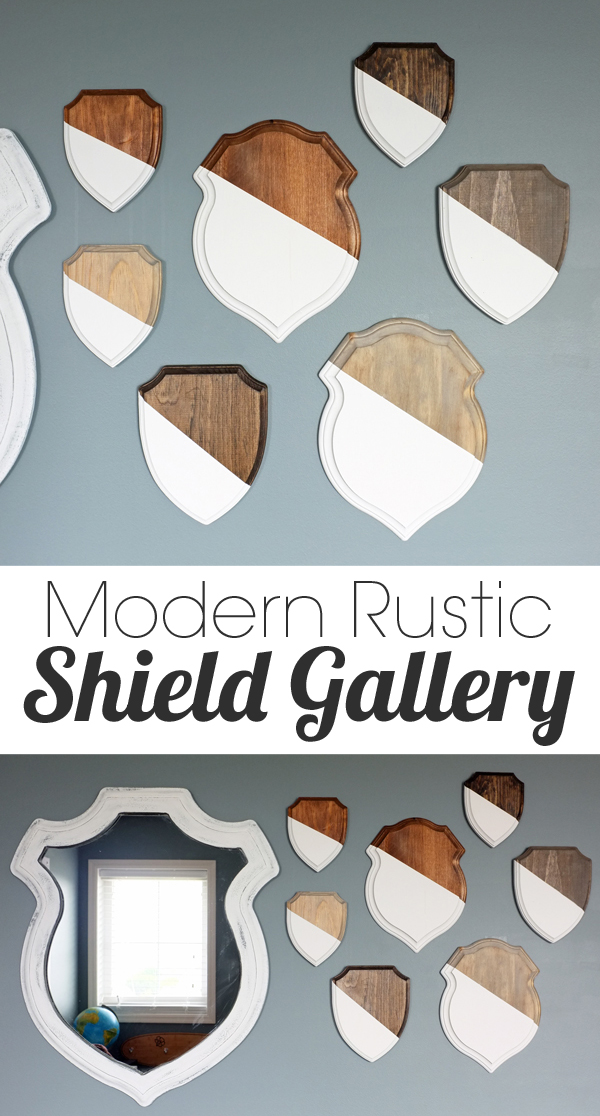 modern rustic shield gallery wall art