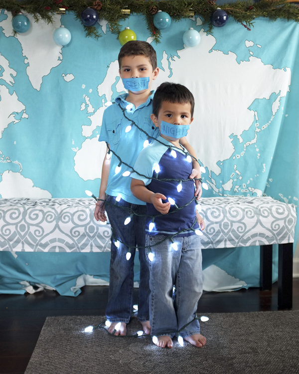 DIY Holiday Card - Silent Night Kids Pose