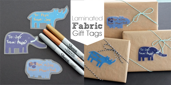 Laminated Fabric Gift Tags with Sharpie Markers | tealandlime.com