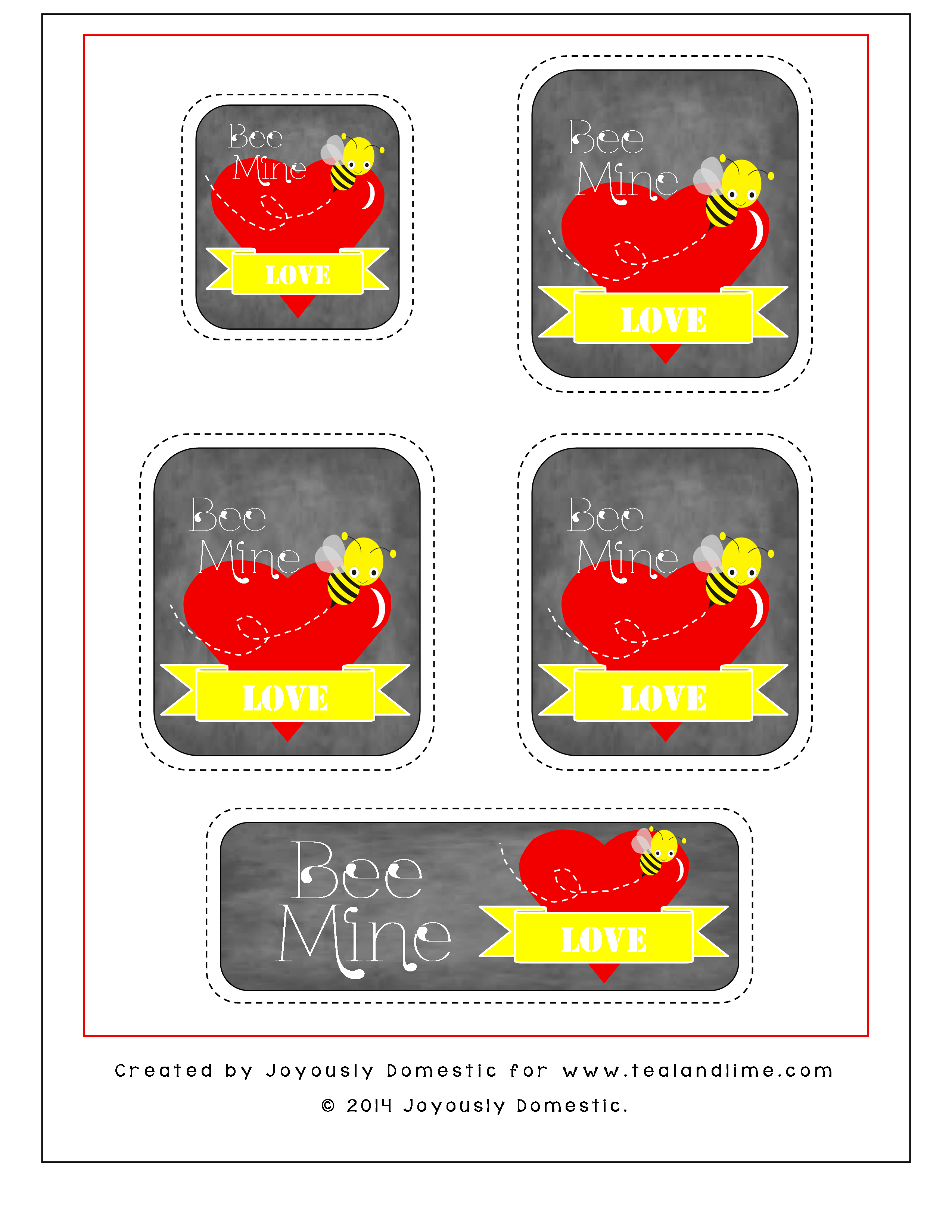 Bee Mine Valentine's Day Printable Gift Tags | Joyously Domestic for tealandlime.com