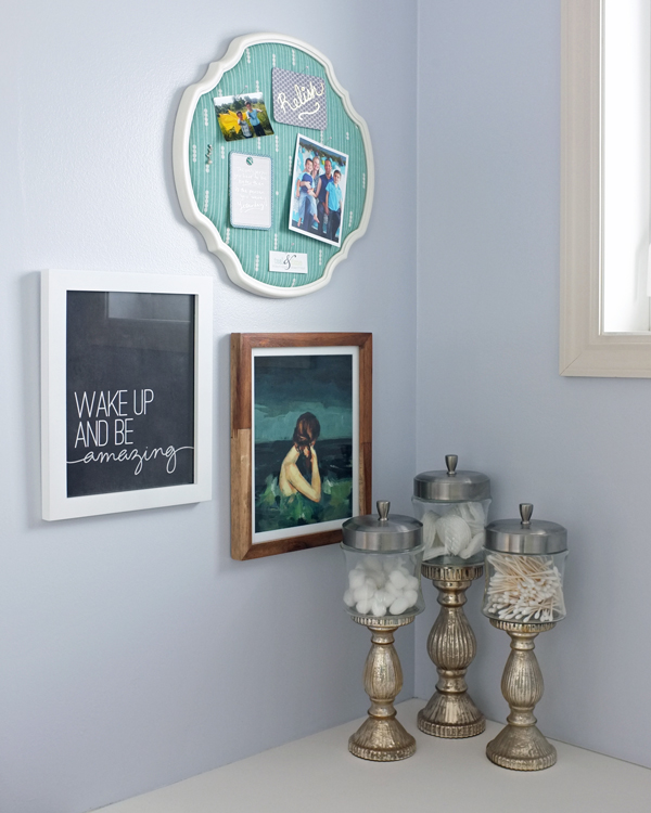 Keep inspiration front and center with a bathroom gallery wall | tealandlime.com