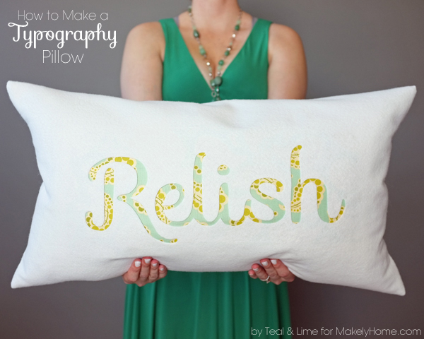 How to Make an Easy Typography Pillow by tealandlime.com for Makely School for Girls