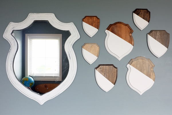 Wooden Shield Gallery Wall | tealandlime.com