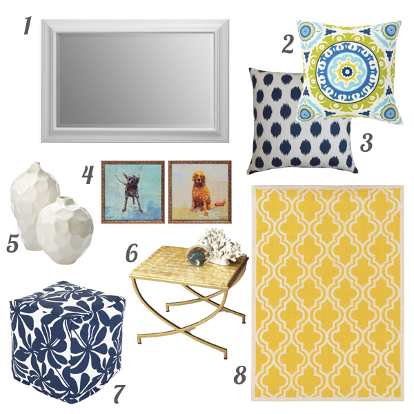 Ideas from the Wayfair catalog to recreate a cheerful yellow and blue living room | tealandlime.com
