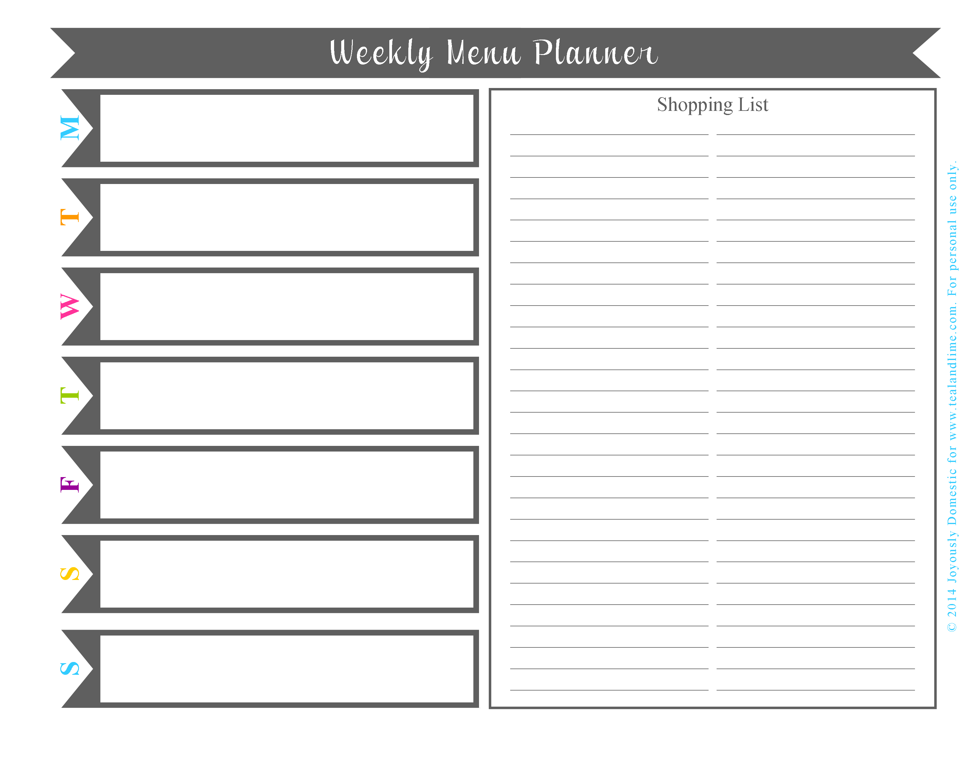 FREE Printable Weekly Menu Planner | Joyously Domestic for tealandlime.com