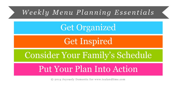The Key Steps for Successful Weekly Menu Planning | Joyously Domestic for tealandlime.com