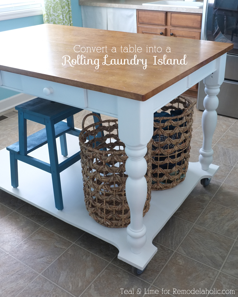 Amazing! How to turn a dining table into a rolling island!