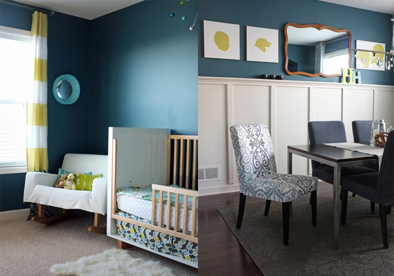 Dark teal walls in a nursery and dining room