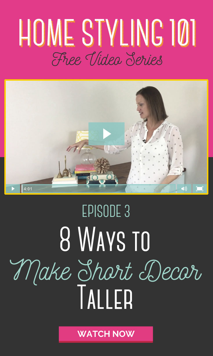 I can't wait to try some of these ideas on my shelves. She used props to make small decor look bigger and more expensive. Love this home styling series.