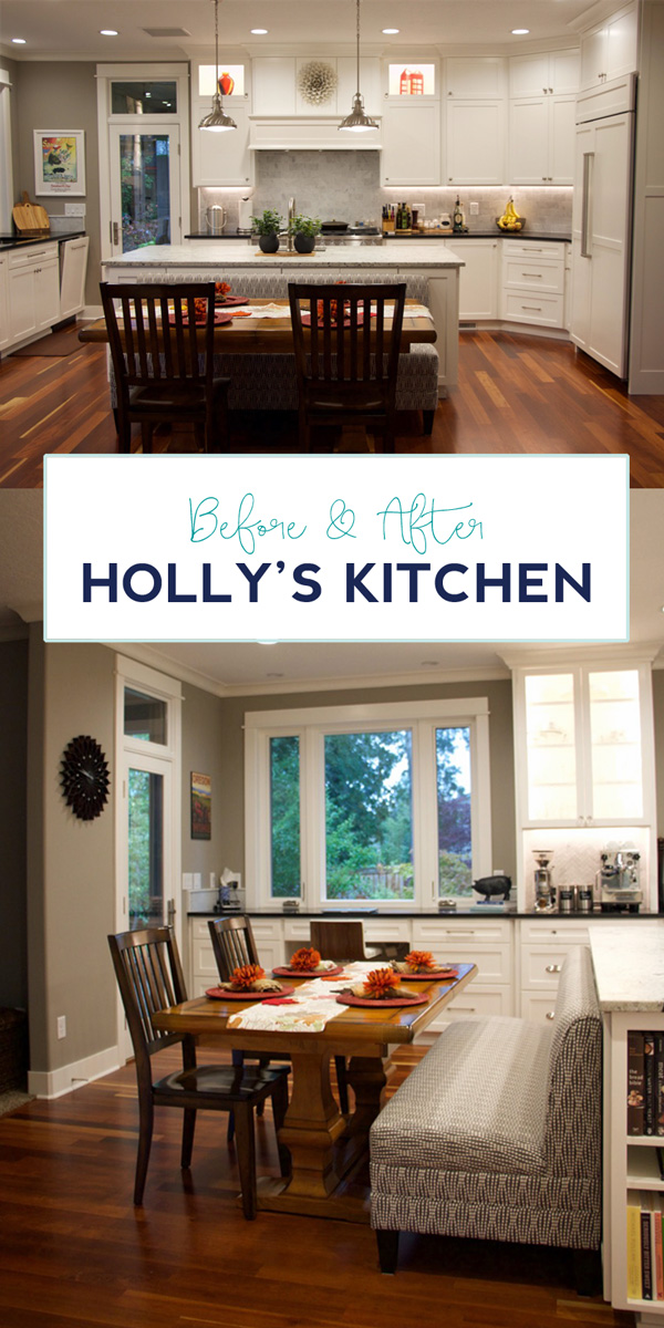What a dreamy kitchen remodel. I love the banquette seating off the island. Click through to see the whole kitchen.