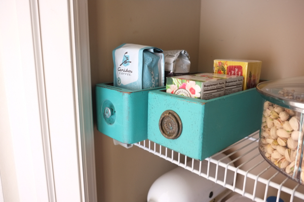 "Use old drawers as ""baskets"" in a pantry."