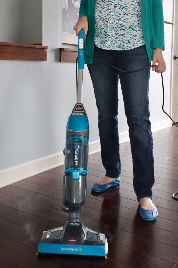 This is my favorite new tool for cleaning my wood floors in ONE STEP. Did you know about all-in-one vacuum steam mops? Amazing for homes with pets. Click through to see how this one tool has cut my floor cleaning time by more than half.