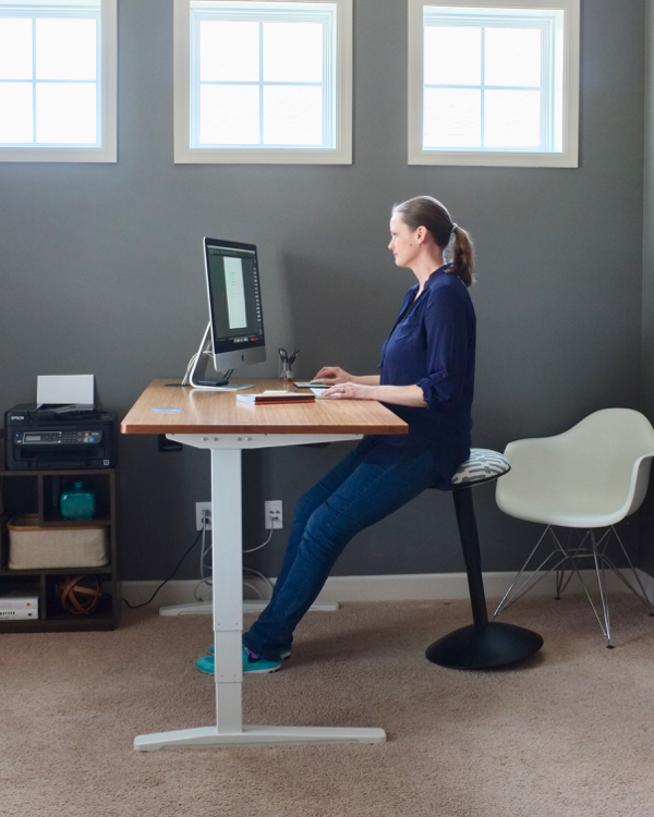 We took the big desk and bookcases out of our office and brought in a new standing desk. We love this minimal, streamlined home office so much more now.