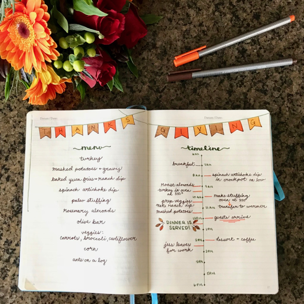 how to plan your Thanksgiving menu and cooking timeline in your bullet journal