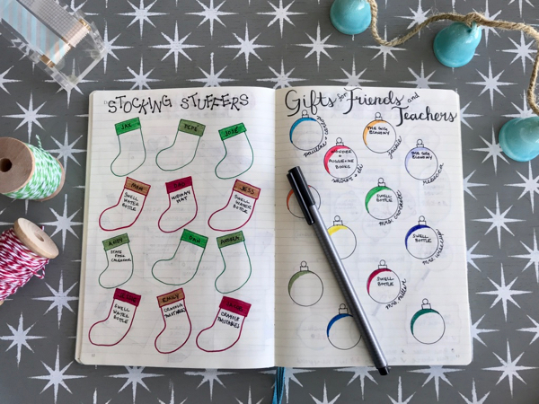 Bullet journaling for stocking stuffer ideas and teacher and friend gifts. Love the cute layouts.