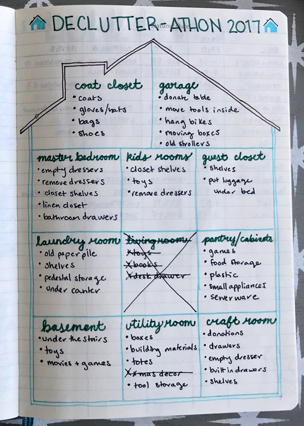 how to use bullet journaling to systematically declutter your entire house