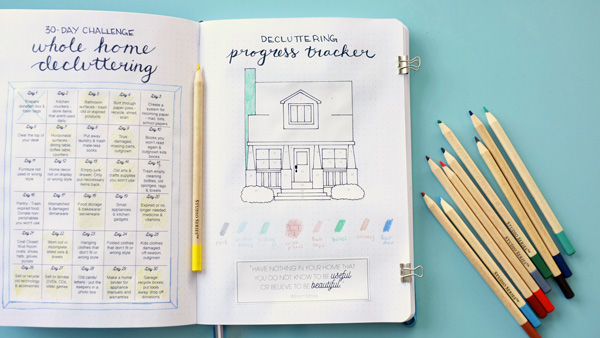 Free progress tracker for 30-Day Whole Home Decluttering Challenge