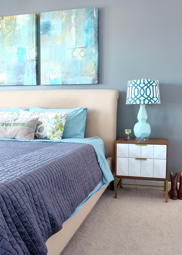 A budget-friendly modern master bedroom makeover under $400 - including two new nightstands and bedding