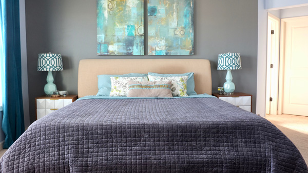 Love this modern master bedroom - the dark gray looks so cozy!