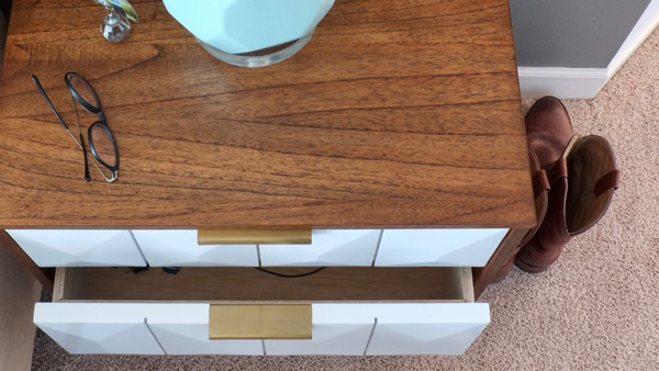 Geometric nightstand drawer fronts