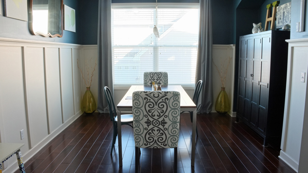 dining room turned homework room - she took away most of the dining chairs to make the table more accessible