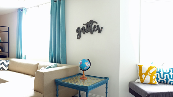 Gather wall sign for a family room