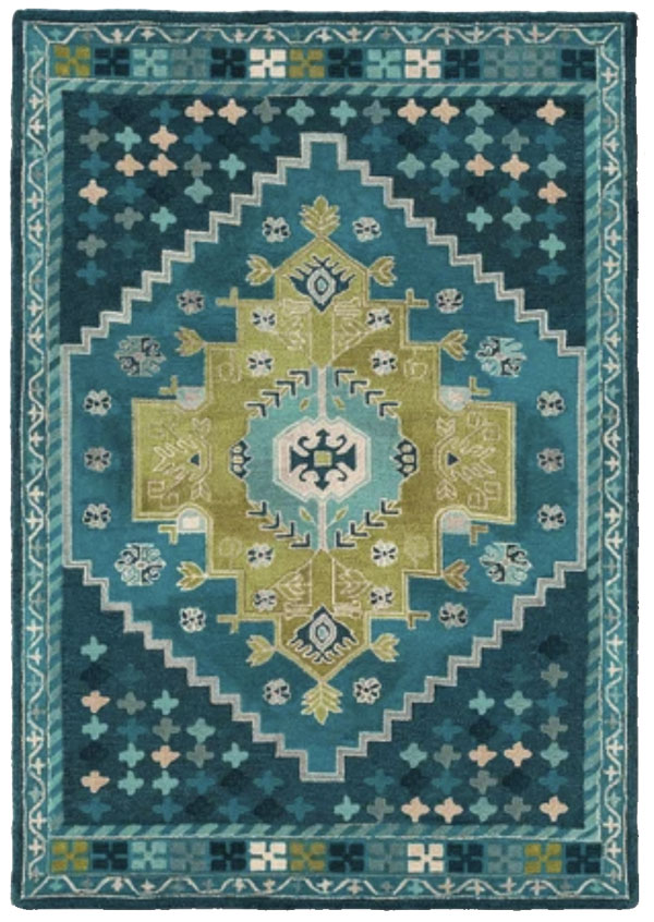 Teal Wool Tufted Area Rug