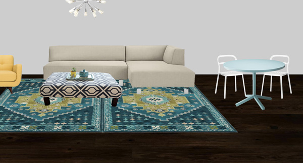 Mockup of living room showing two rugs side by side to make one large area rug