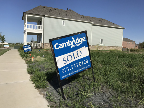 Cambridge Homes sold sign