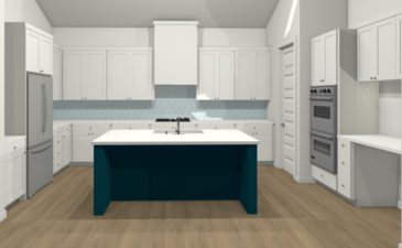 Beautiful modern white kitchen rendering