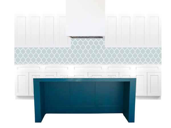 White kitchen with teal kitchen island