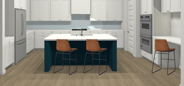 Faux leather counter stools to add warmth to a modern kitchen