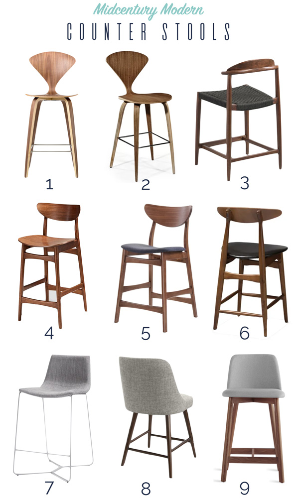 Best midcentury modern walnut counter stools