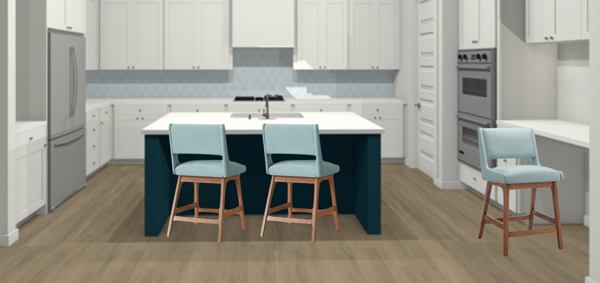Retro modern counter stools with turquoise upholstery