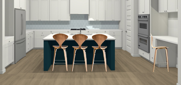 Walnut veneer counter stools in a modern kitchen