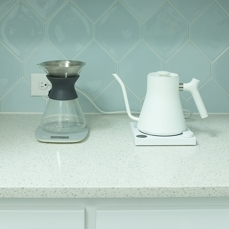 white modern electric tea kettle
